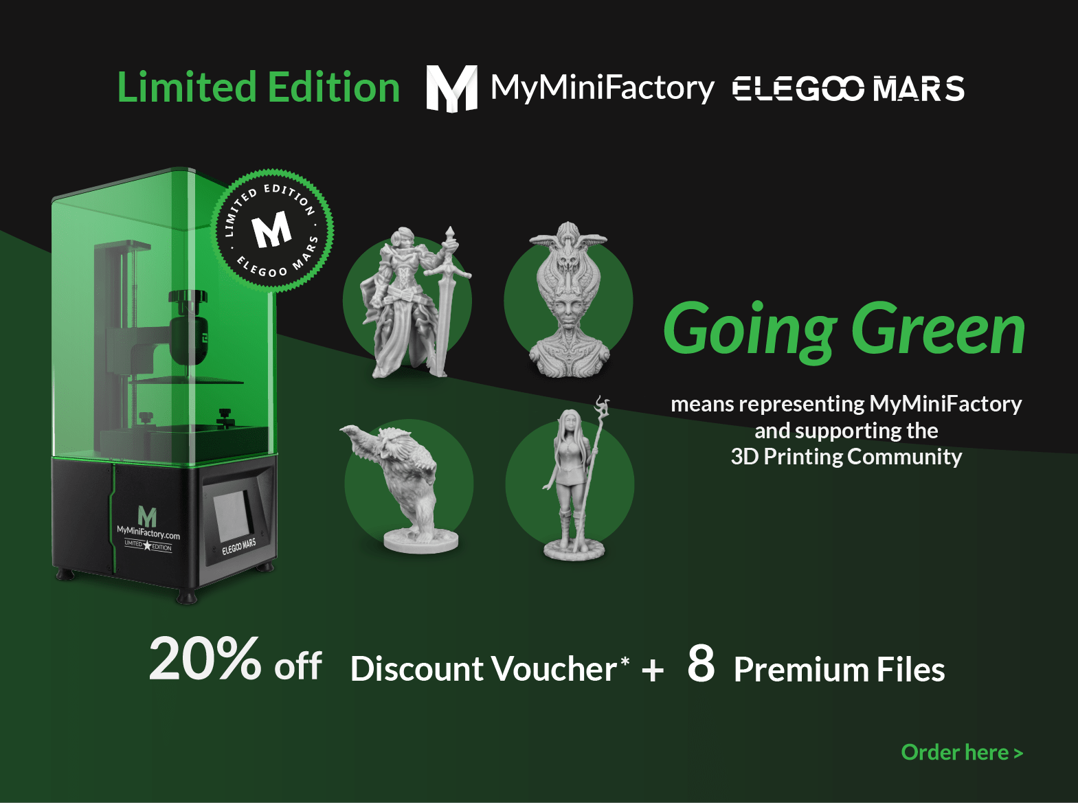 Elegoo Mars Limited Edition 20% discount code + 8 premium files. Elegoo Mars printer along with some table top figurines